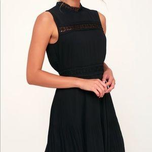 Lulu's black mock neck crochet mini dress